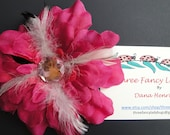 Hair Clip - Pink Flower With Feathers
