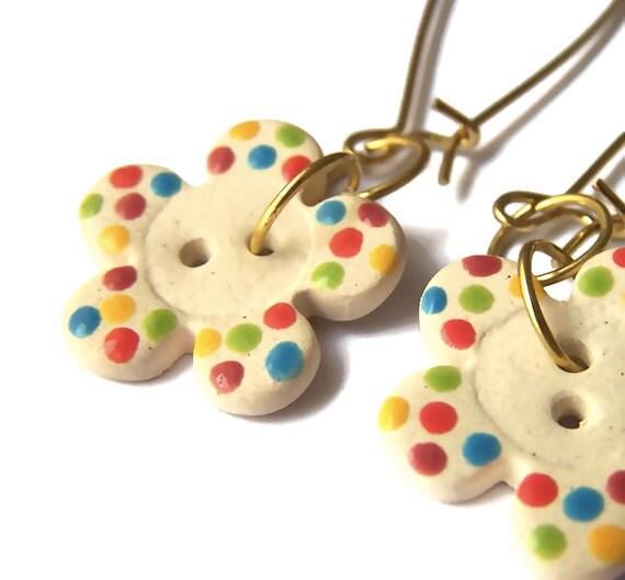 Daisy Button Earrings, Cute Fun Dotty Flower Ceramic Button Earrings, Dangle, White, Multicolored Polka Dots, Ditsy Pattern, Funky