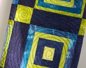 Quilt - Wall Hanging, Modern Baby Quilt - Hand Dyed Midnight Blue, Cerulean Blue and Olive Green