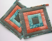 Quilted Pot Holders, Fabric Hot Pads in Army Green, Coral Orange, and Turquoise Hand Dyed Cotton