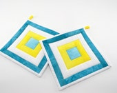 Quilted Hot Pads - Turquoise, Sunshine Yellow, White and Light Aqua Hand Dyed Fabric Pot Holders
