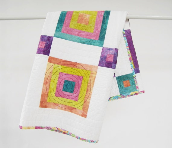 Baby Girl Quilt, Quilted Blanket, or Wall Hanging - Modern Baby Quilt in White with Pink, Aqua, Chartreuse, Orange and Purple