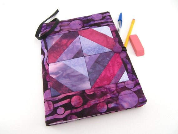 Quilted Journal Cover, Composition Notebook Cover - Purple and Magenta in Strip Pieced Hand Dyed Fabric