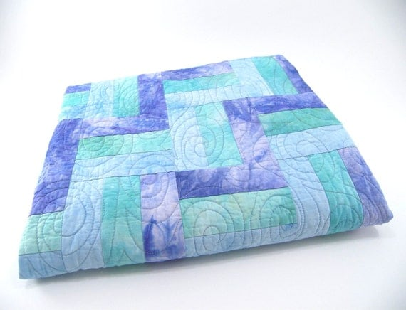 Baby Boy Quilt, Crib or Cot Blanket, Fabric Wall Hanging in Hand Dyed Light Blue, Aqua and Periwinkle Cotton