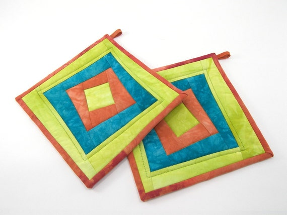 Quilted Pot Holders, Fabric Hot Pads - Chartreuse Green, Aqua Marine, and Tomato Orange Wonky Log Cabin Squares in Hand Dyed Cotton