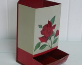 NICE Vintage Tin Metal Match Box Holder, Red and White with Red Rose - Vintage Travel Trailer and Home Decor