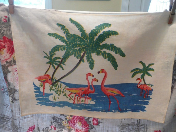 RARE 1960s Linen Dish Tea Towel, Flurry of Flamingos - Vintage Travel Trailer Decor