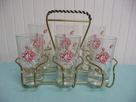 Set of 1960s Rose Embossed Drinking Glasses with Caddy  Holder - Vintage Travel Trailer Decor