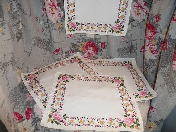 NOS Vintage Cotton Rose Print Napkins, Four Pieces - Vintage Home Decor