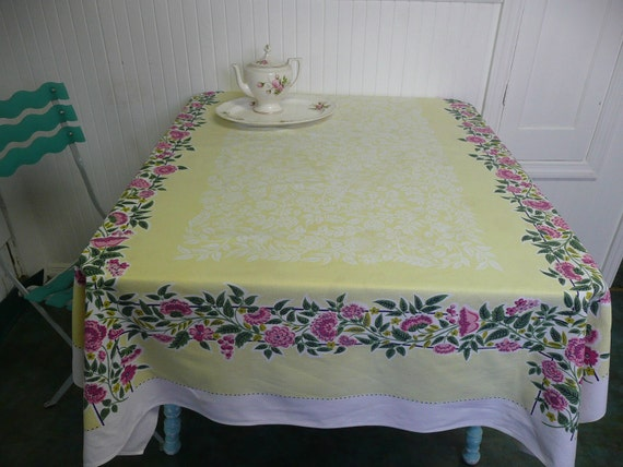 LARGE Vintage Cotton Tablecloth, Yellow with Pink Flowers - Vintage Home Decor