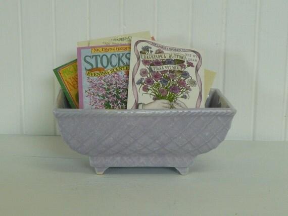 1960s Violet Pottery Flower Pot, Diamond Pattern, Vintage Lovely - Vintage Home and Garden Decor