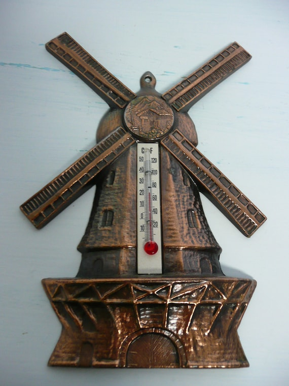 Vintage Windmill Thermometer, Cast Metal, Bronze Colored, Collectible