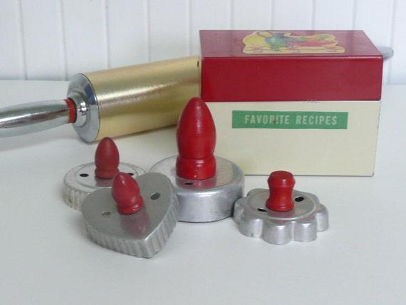 Four Vintage Cookie Cutters, Red Handles, Aluminum - Vintage Home Decor