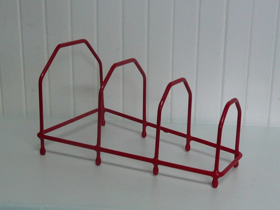 RESERVED Nice Hard to Find Vintage Red Kitchen Storage Rack for Dishes, Trays, Bakeware, Pot Rack - Vintage Travel Trailer Decor