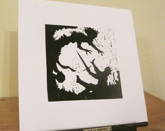 Beowulf and Grendel's Mother - Silhouette Print