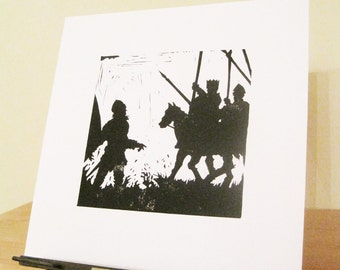 Beowulf and King Hrothgar - Silhouette Print