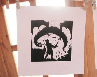 St George and the Dragon - Silhouette Print