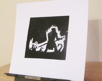 St George Slays the Dragon - Silhouette Print