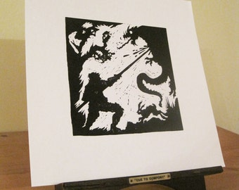 St George Spears the Dragon - Silhouette Print