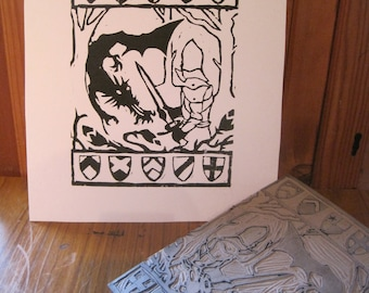 St George and the Dragon - Linocut Print