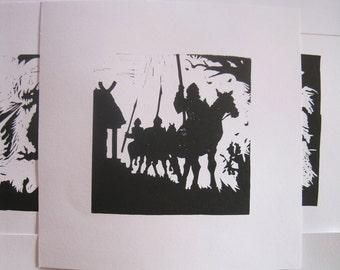 Beowulf Silhouette Print - linocut print