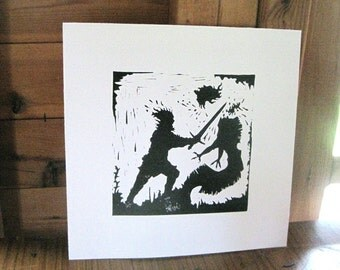 Beowulf Decapitates Grendel's Mother - Silhouette Print