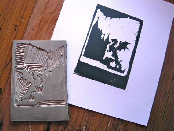 Castle and Dragon - Linocut Print