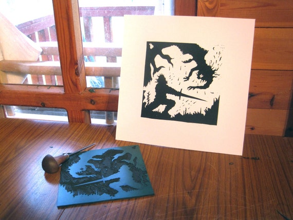 Grendel's Mother and Beowulf do Battle  - Silhouette Print