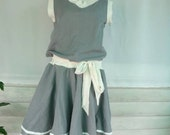 Refreshing Gray Dress  Two tone color