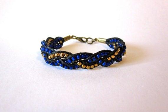 Cobalt Blue and Bronze Braid Bracelet