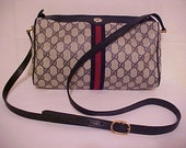 Authentic GUCCI Vintage Monogram Blue Leather Stripe Handbag Purse w/Strap fully tagged Fast Sell Fast Shipper Buy Now