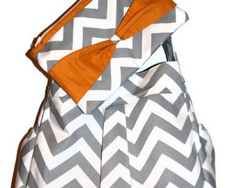 Girl or Boy Diaper Bag in Grey and White CHEVRON with mustard lining
