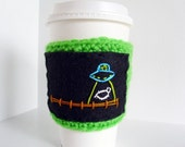 Alien Abduction Coffee Sleeve - Crochet Cup Cozy - Sheep Adbuction - Black and Green Coffee Cozy