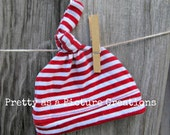 Upcycled Newborn Knot Hat, Red and White Stripes