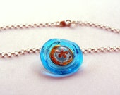 Lampwork Disk Necklace in Turquoise with Gold and Silver