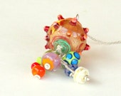 Lampwork Necklace - Colorful Glass Beads Cluster - Silver Chain