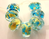 Handmade Lampwork Beads - Make your Own Jewelry - 6 Gold and Aqua Spacers