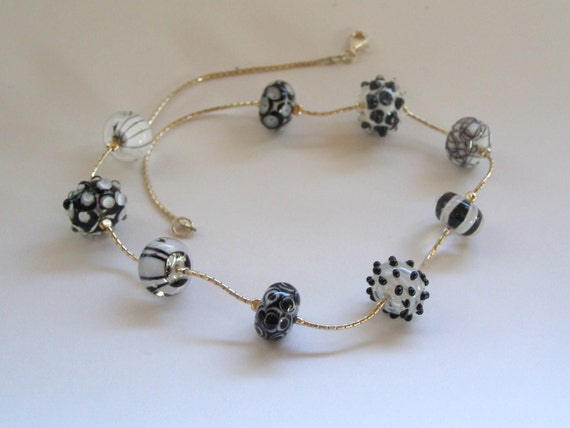 Handmade Lampwork Bead Necklace on Silver Chain - Black and White