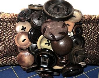 vintage button cuff bracelet, brown