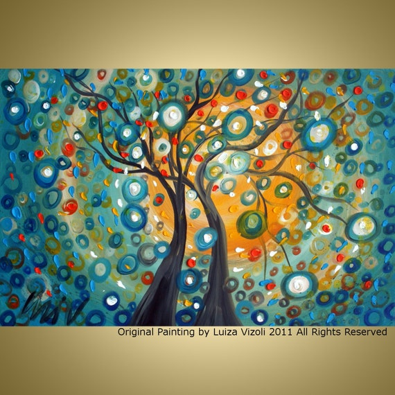 PRINT on Canvas IN LOVE Fantasy Trees Landscape Large Giclee of original painting by Luiza Vizoli