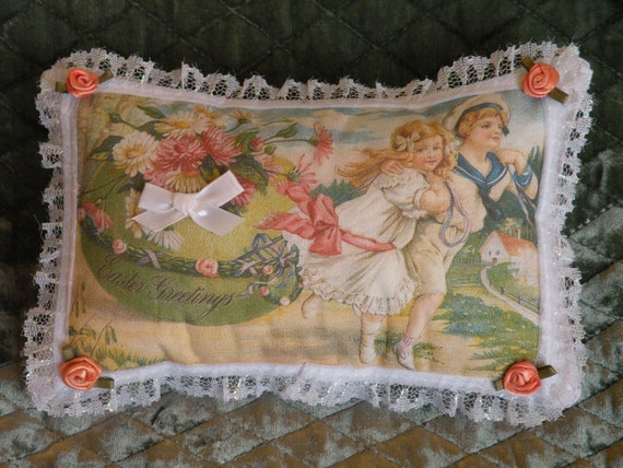 Easter Greetings - Boy & Girl Pull Large Easter Egg Pillow made from vintage post card