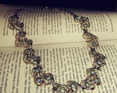 Vintage Silver and Blue Rhinestone Necklace
