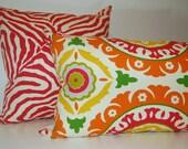 Modern Bright 13x21 Suzani Pillow Pink Orange Yellow