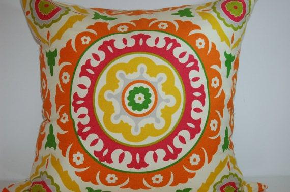 Pair Modern Bright 20 x 20 Suzani Pillow Covers Pink Orange Yellow