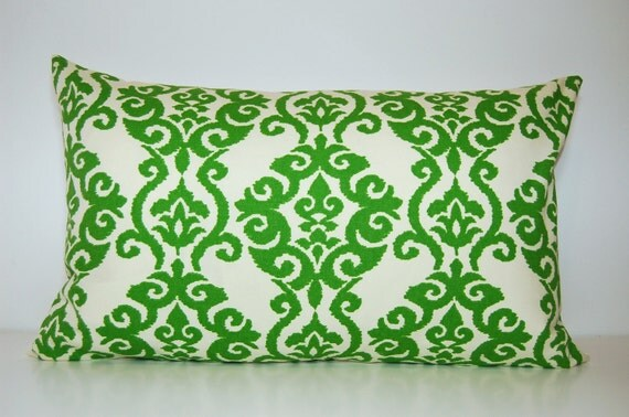 Modern 13x21 Green Damask Pillow