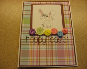Handmade Easter card. Easter Bunny. Happy Easter