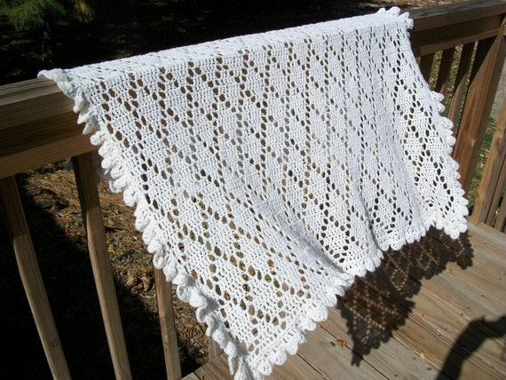 Baby Blanket/Afghan Hand Crocheted Antique White Shimmer Yarn Diamond Pattern Oversize 42 Inches Square READY TO SHIP