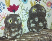 Two cute owls perched on driftwood