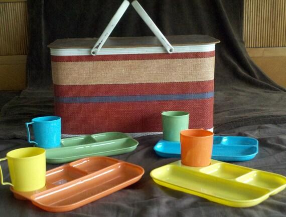 Adorable Vintage Redmon Picnic Basket, Red Blue Tan Striped, with Colonial Plastics serving set