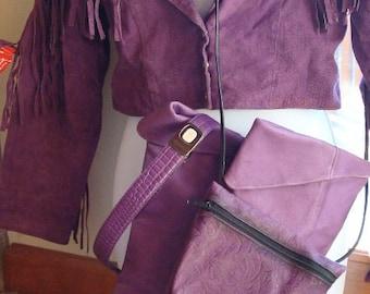 80s Vintage   purple leather minibag and belt